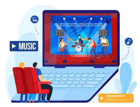 Online music concert, people watch musical performance on computer vector illustration. Rock festival with musicians video stream.