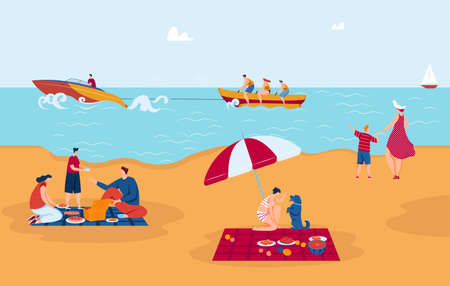 Sea vacation, entertainment, surfing yachting and picnic at sea shore vector illustration. Swimming, sailing on summer vacation. Ilustração