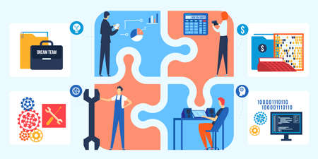 Dream team in business, puzzle concept vector illustration. Company employees productive work and partnership. Business successful teamwork.