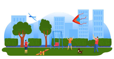 Kids playing kites, airplane vector illustration. children flying kites in city park. Entertainment outdoor in summer.