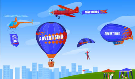 Extreme sport, skydiving, paragliding, flight with parachute vector illustration. Xtreme sport activity in summer. Man floating.
