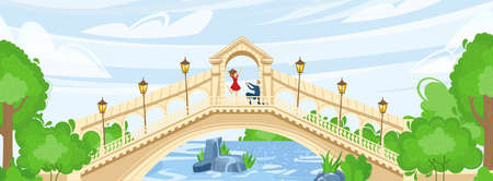 Park with bridge over river or water vector illustration. Nature, landscape with geen trees, in summer for leisure and relax.