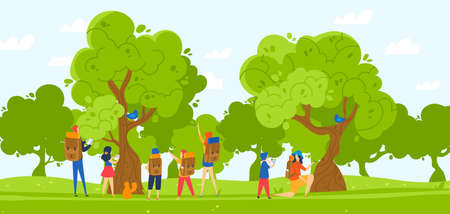 Group of children hiking in park illustration. Kids boys and girls with backpacks and teachers in nature, forest outdoor. 向量圖像
