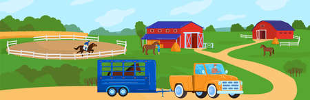 Horses at horse farm country summer rural landscape vector illustration. Ranch field with fence, meadow and horses. 版權商用圖片 - 162110869