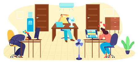 Hot summer day at office work, high temperature vector illustration. Businessman suffering summer heat and fanning with fan at job.