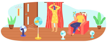 Hot summer weather, heat, high temperature vector illustration. Couple suffering summer heat and fanning with fan, closing curtains. 向量圖像