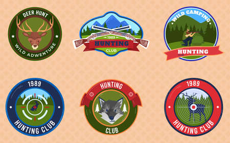 Hunting badges emblems set of vector illustrations. Hunters club heraldic emblem of shield with buck or stag silhouette on mountain.