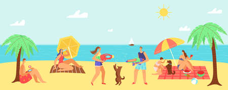 Hot summer vector illustration. Happy people enjoying summer vacations on beach, sunbathing on hot day in summertime. 向量圖像
