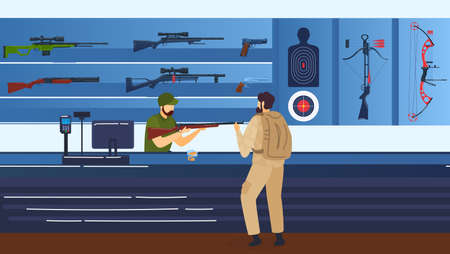 Riflerange, shooting gallery, man with rifle, guns and rifle vector illustration. Shooting sport practice, shootinggallery. Aiming targets.