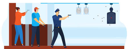 Shooting gallery for policeman vector illustration. Shooting practice in police, shootinggallery. Aiming targets. 向量圖像