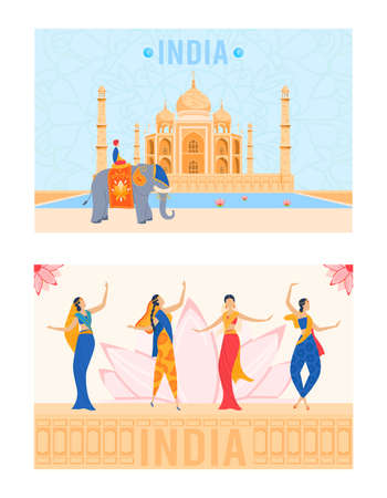 India, indian culture with national architecture landmarks, cityscape, travel and tourist symbols, woman in saree dancing vector illustration.