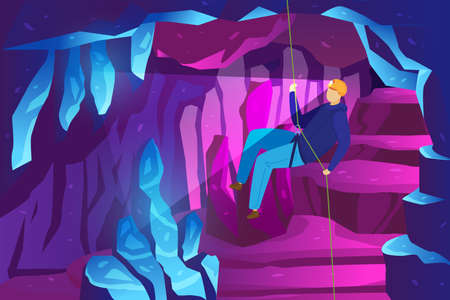 Climber adventure in mountains, study ice caves, extreme sport speleology spelunker vector illustration. Rocks in mountains, caving travel.