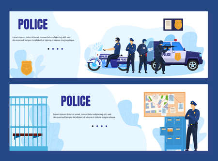 Police concept with officers and police station banners vector illustration. Policeman and policewoman in uniform, city police department.