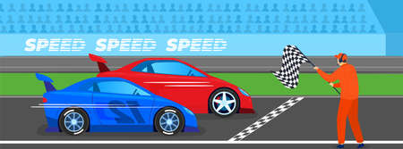 Race sport competition vector illustration. Speeding cars, fast motor racing bolid at finish line. Speed auto winner. Automobile rally. 向量圖像