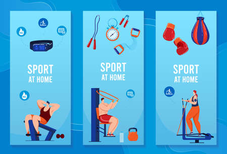 Sport equipment set of banners, vector illustration. Fitness, healthy lifestyle accessories. Games ball, tennis, baseball icons collection.