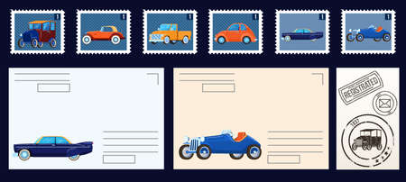 Postal stams collection isolated set of vector illustrations. Vintage postage stamps with retro cars. Envelopes and empty postcards.