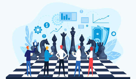 Strategy, strategic management vector illustration concept. Businesspeople on chessboard, data analysis, strategy planning.