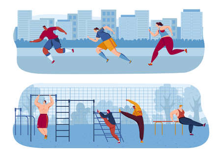 Street workout exercises vector illustration. People taking physical activity in outdoor workout area. Training, exercises.
