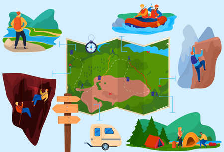 Hiking tourism set of isolated vector illustration. Mountaineering adventure tour, vacation, travel in boats, in forest. Tourist with backpacks.