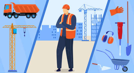 Construction worker character, builder in helmet with proffessional equipment vector illustration. Industrial engineering and building. 向量圖像