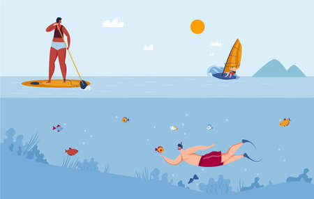 Water sports diving, surfing yachting and ski vector illustration. Swimming, sailing on summer vacation. Divers in sea water.