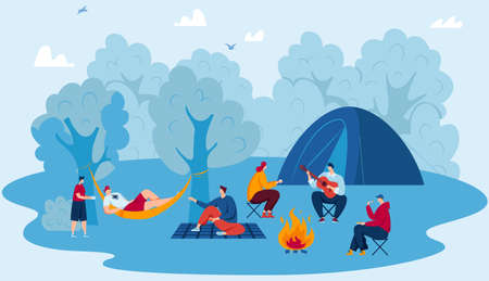 Camp in forest, travel adventure, tourism vector illustration. Campsite, hiking and outdoor recreation concept with camping travellers.