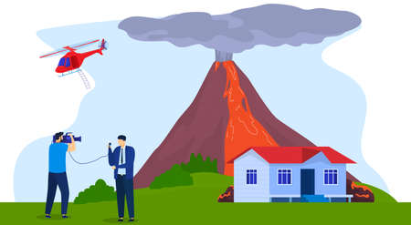 Accident news, reporter journalist live broadcasting volcano eruption near city, vector illustration. Breaking news broadcast.