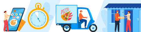 Pizza delivery online service set of isolated vector illustrations. Deliverman holding italian pizza cardboard box. Special truck. 向量圖像