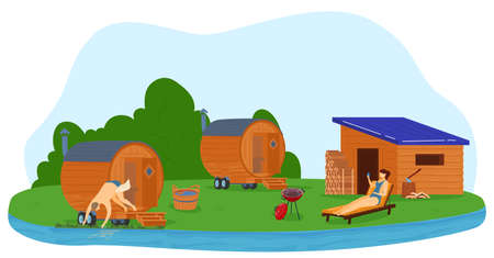 Sauna and steam house, spa resort relaxation and leisure vector illustration. People enjoying hot steam procedures in wooden sauna.