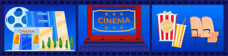 Cinema, theaterism, film industry vector illustration. Box of popcorn, movie and cinema theater. Cinematography, art festival elements.