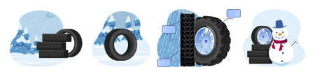 Tire auto, winter wheels for cars set of isolated vector illustration.Car wheel tyres on winter landscape background.