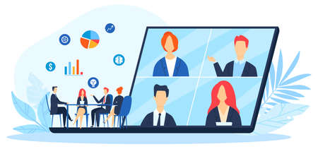 Work online, virtual office with business people working together and mobile devices vector illustration. Business management.