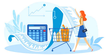 Budget, monthly expenses planning checklist, calculator and economy vector icon illustration. Woman shopping and budgeting.