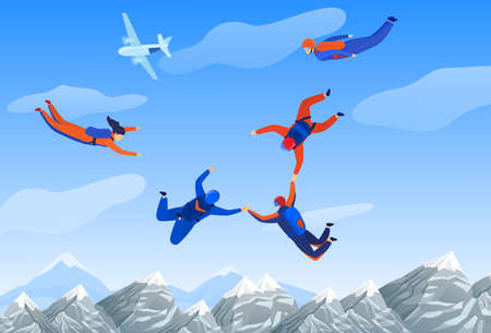 Skydiving man, extreme sport vector illustration. Parachuting sport. Fun parachute jumping skydrivers. Active hobby. Sportsmen skydive.