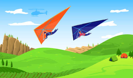 Paragliders in sky abouve forest, extreme sport adventure vector illustration. Paraplane free fly paragliding sports. Wind skydiving and recreation.