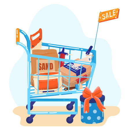 Building materials store sale flat vector illustration. Shop trolley with products for repair and builders. Advertising construction.