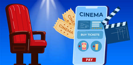 Theaterism, film industry vector illustration. Cinema tickets, box of popcorn, movie and cinema theater. Cinematography, art festival elements. 向量圖像