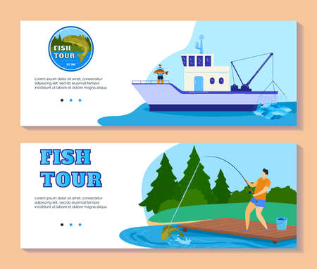 Fishing tourism or fish catch sport adventure vector illustration. Fisherman at lake with rod. Fish ship with fishing tackle and lures for pike, perch or seafood.