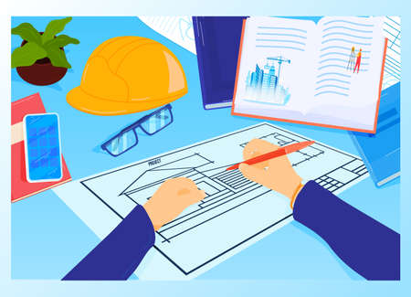 Construction project workplace at architect table vector illustration. House plan with tools, smartphone and book. Engineering.