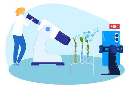 Scientists looking at plants with microscope vector illustration. Biotechnology, biological systems, bio-engineering science concept. 向量圖像
