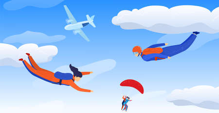 Skydivers sportsman in sky air, extreme sport vector illustration. Parachuting sport. Fun parachute jumping skydrivers. 向量圖像