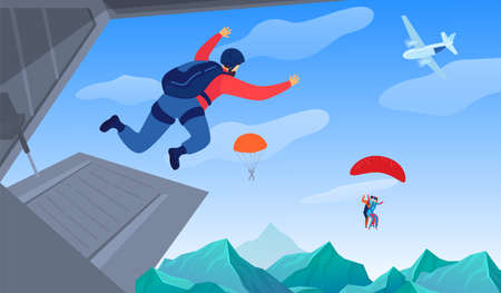 Extreme sport in air vector illustration. Parachuting sport. Parachute jumping courageous skydrivers. Active hobby. Sportsmen skydive. 版權商用圖片 - 162111106