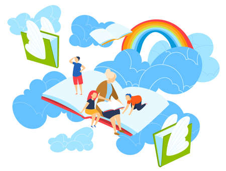 Kids imagine magic world vector illustration. Mother reading story to children, happy family, fairy tale. Kids imagination, child imagine himself in sky story and rainbow.