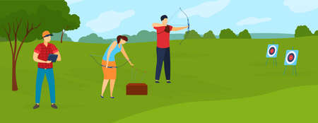Archery sport player in summer games vector illustration. Archers athletes with bows and target in nature. Sporting championship. 向量圖像