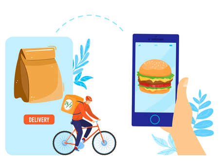 Fast food delivery to door and by courier flat icons set isolated vector illustration. Deliverman on bike delivering restaurant food 24 7. 向量圖像