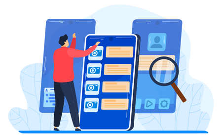Search in mobile smartphone flat design vector illustration. Concept for search engine optimization and web analytics elements. Mobile app.