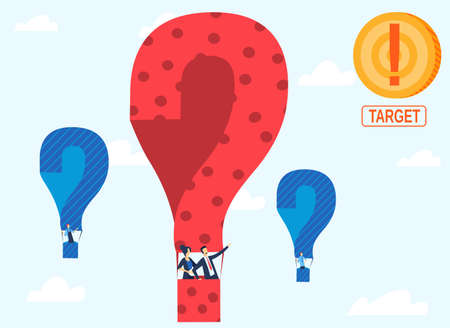 Support service, fix maintenance, contact us concept vector illustration. Technical support with hot baloons with questions and target for professional fixing.