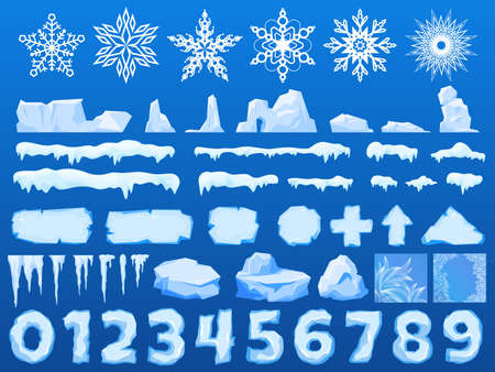 Ice chunks, big icebergs, severe frost and snow, set elements for design, beautiful snowflakes cartoon style, vector illustration.