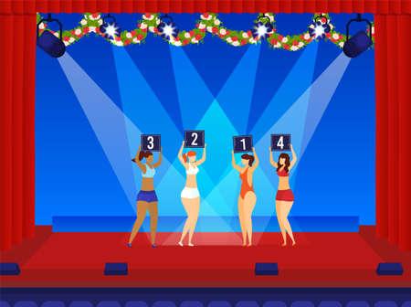 Beauty girl, swimsuit showing, woman performing show, beautiful bikini model, design, in cartoon style vector illustration.