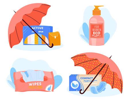 Care beauty, hygiene intimate, intimate health woman, menstruation clean, menstrual set, design, flat style vector illustration.